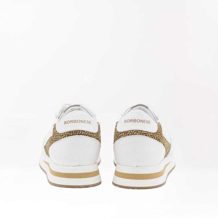 borbonese sneaker pelle avorio retro