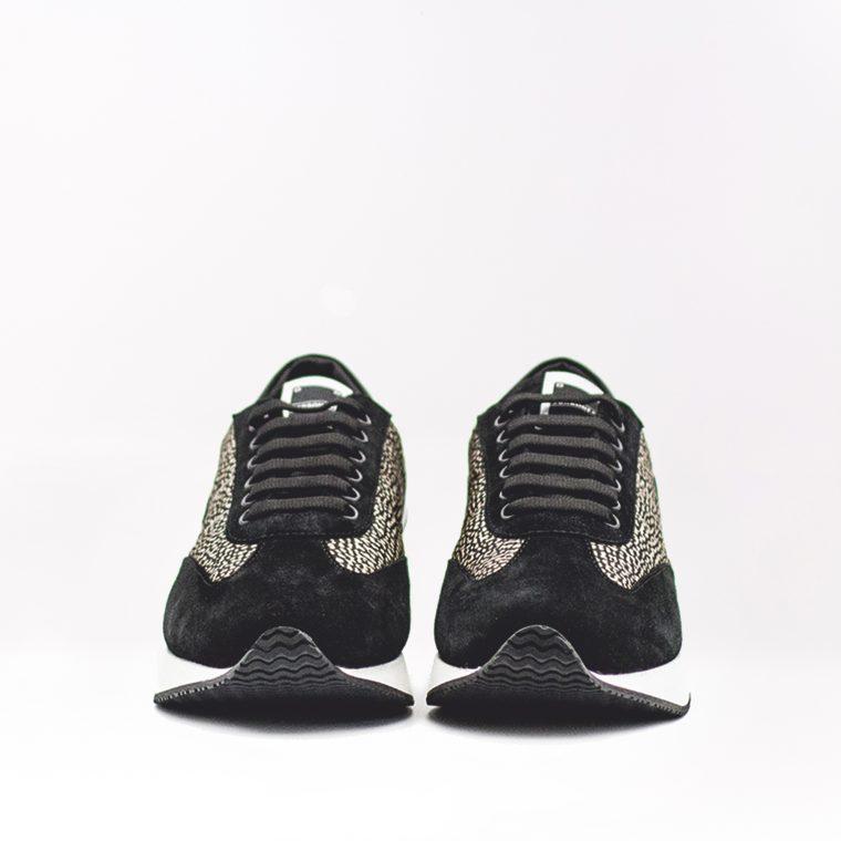 borbonese sneaker pelle tessuto nera fronte
