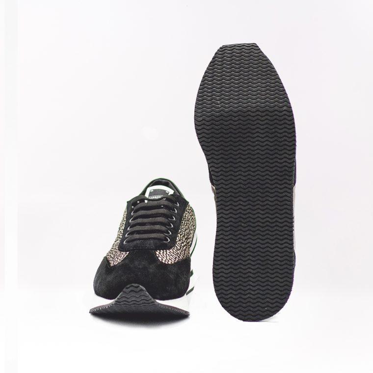 borbonese sneaker pelle tessuto nera fronte alto