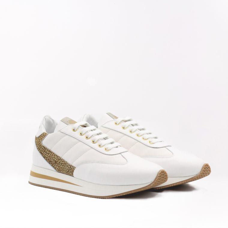 borbonese sneaker pelle avorio obliquo